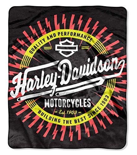 60' Micro Raschel Blanket - The Northwest Company Harley-Davidson Lightning Ride Raschel Blanket, 50 x 60 inches, Black NW949133