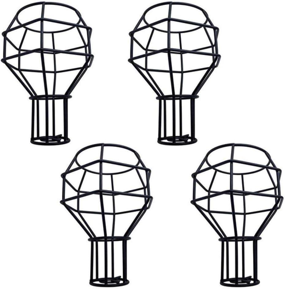MHGSW Pantalla de lámpara rústica Vintage, Protector de Bombilla, Jaula de lámpara, lámpara Colgante, lámpara de Pared, Protector de lámpara Negro esférico, Paquete de 4