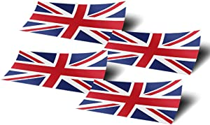 United Kingdom UK 4 Pack of 4 Inch Wide Country Flag Stickers Decal for Window Laptop Computer Vinyl Car Bumper Great Britain 4