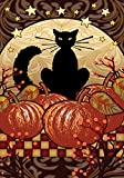 Toland Home Garden Moonlight Cat 12.5 x 18 Inch Decorative Spooky Black Kitty Halloween Pumpkin Garden Flag