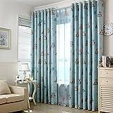 Window Drapes Cartoon Print Owl Blackout Top Silver Grommets Curtain Children Kids Bedroom 2 PanelsBlue^^^54*84*2