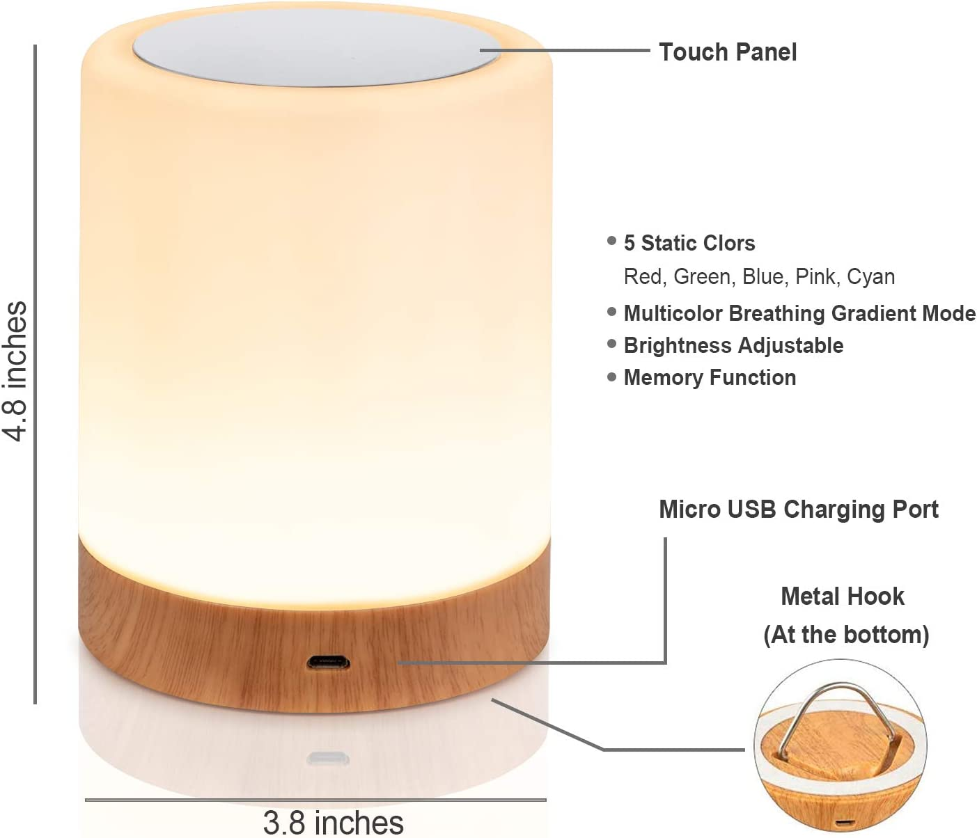 360 Degrees Light Touch Night Light Rechargeable Battery Powered Table Lamp Dimmable with Metal Hook Portable Warm White Light Bedside Lamp with RGB Color Changing Light