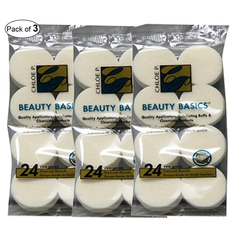 Beauty Basics Cosmetic Round Sponges (24 In 1 Pack) (Pack of 3)
