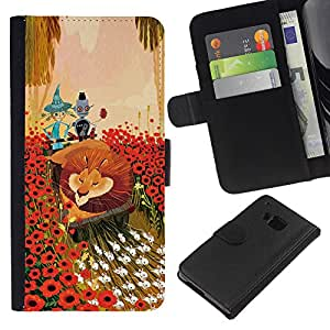 ZCell / HTC One M7 / Lion Flowers Cartoon Fairy Tale Art Friends / Caso Shell Armor Funda Case Cover Wallet / León flores dibujos animados
