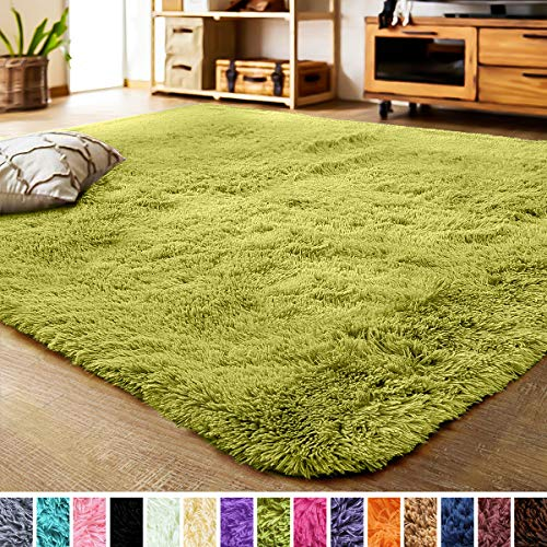 LOCHAS Luxury Velvet Living Room Carpet Bedroom Rugs, Fluffy, Super Soft Cozy, Bright Color, High Pile, Floor Area Rug for Girls Room, Kids, Nursery, Baby (5.3x7.5 Feet, Green)