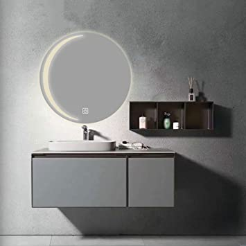 Wlher Modern Bathroom Vanity Mirror Round Waterproof Illuminated Led Bathroom Mirror Three Color Adjustable Warm White Natural Wall Makeup Mirrors With Anti Fog Function 800x800mm Amazon Co Uk Sports Outdoors