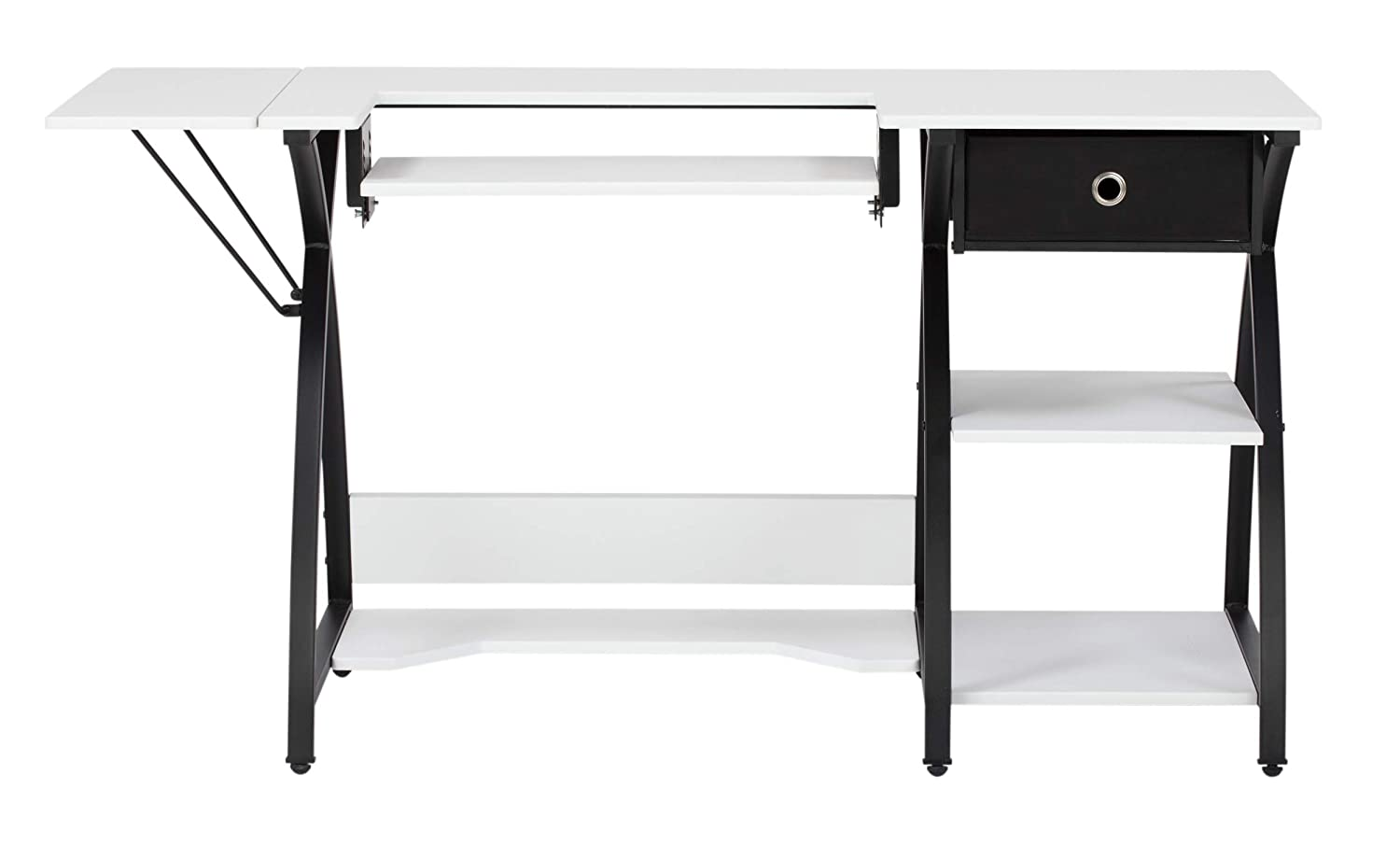 Sew Ready Comet Sewing Desk Multipurpose/Sewing Table Craft Table Sturdy Computer Desk with Drawer, 13333, Black/White