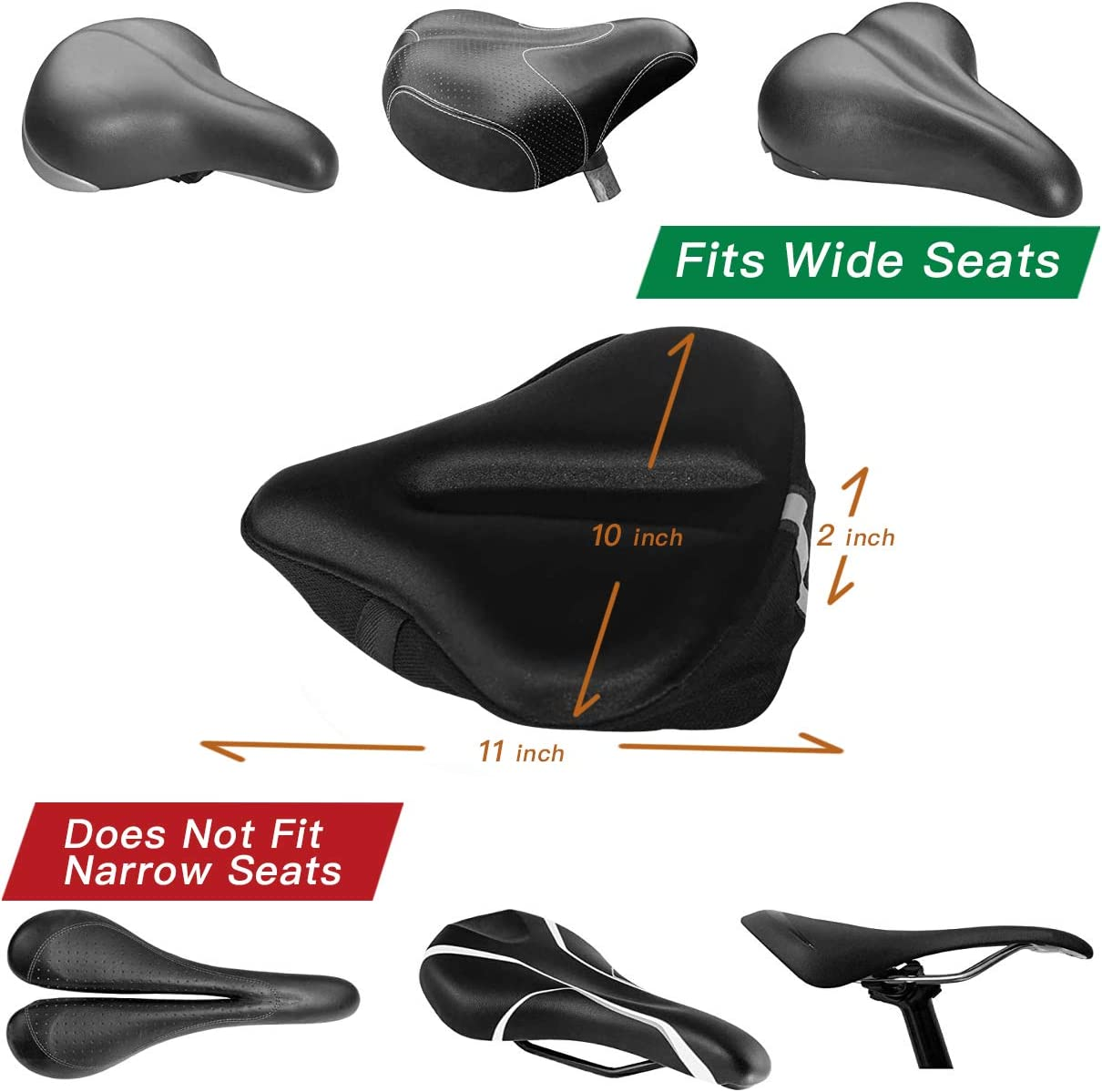 Spinning with Waterpoof Cover Xipeel Memory Foam Bike Seat Cover Extra Soft Large Wide Bike Seat Cushion for Women Men Comfortable Exercise Bicycle Saddle Cushion Fits Cruiser and Stationary Bikes