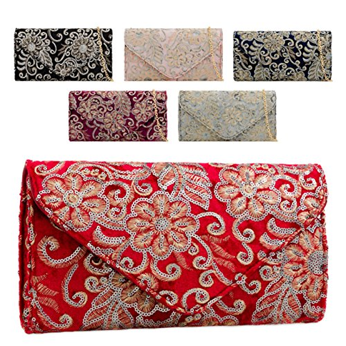 Handbag KT2182 Evening Floral Women's Envelope Navy Clutch Velvet Flower Bag Ladies Faux Uq1a8vWBzn
