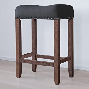 "Nathan James 21305 Hylie Nailhead Wood Pub-Height Kitchen Counter Bar Stool 24"", Black/Dark Brown"