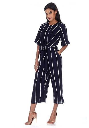 b93210e3f8b Amazon.com  AX Paris Women s Tie Front Striped Jumpsuit  Clothing