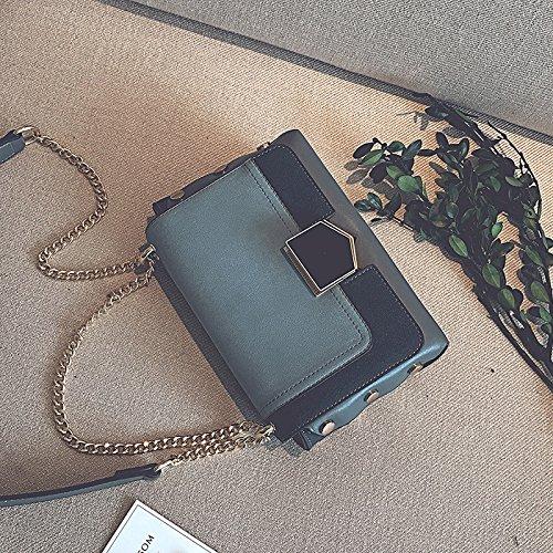 amp;QIUMEI Bolsa OME Pequeña Una Marrón Candado Crossbody Pequeño Bolsa blue Bolsa Bolsa gC6Haxq6