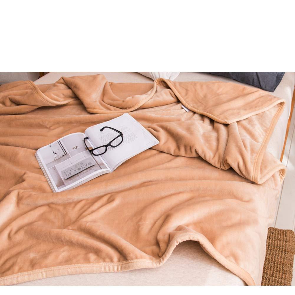 BESTQIAO Volltonfarbe Flanell Kuscheldecke, Reversible Warm Sofa Decke Super weiche Überwurfdecke Tagesdecke-B 200x230cm(79x91inch)