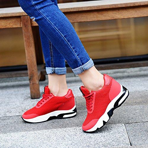 Sport Rot Hidden H Mastery Plattform Schuhe Damen Absatz 8 Turnschuhe Walking Damen Turnhalle Fitness Trainer Flat cm Wedges qwAwfPRB