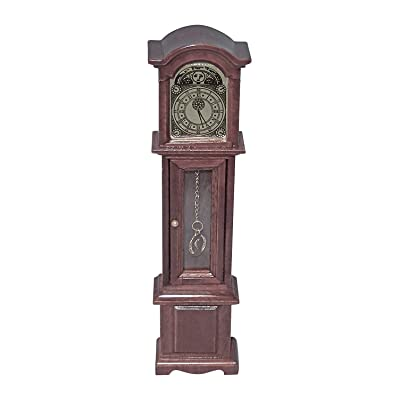 Wooden Dollhouse Grandfather's Clock Mahogany Color 1:12 Scale Miniature: Toys & Games