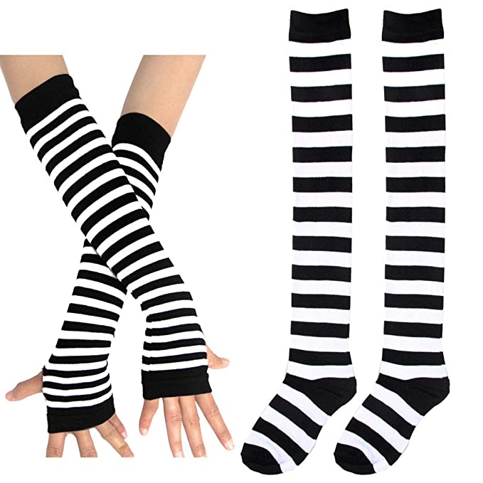 effbb8c70ac Womens Rainbow Stripe Knee Thigh High Socks Arm Warmer Fingerless Gloves (1  pairs Socks 1 pairs