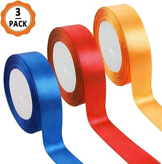 3pcs Cinta Regalo Colores Cintas Navidad, 22m x 2.5cm Cintas de Colores Tela Cinta de Regalo Ancha de Poliéster para Embalaje Decoración del Hogar de Regalo Cajas Flores Boda (naranja, azul, rojo):