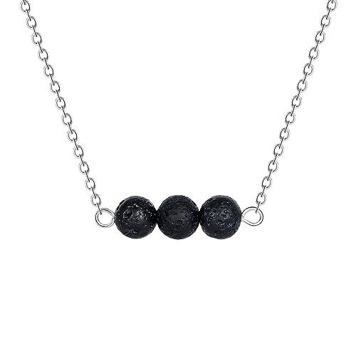 822e7ef080c Lava Rock Stone Diffuser Necklace - Minimalist Silver Natural Small Black  Volcanic Essential Oils Diffuser Lava