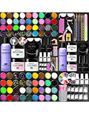 Morovan Acrylic Nail Kit Liquid Monomer - Glitter Powder and Carving Powder Set, Complete Practice Hand Acrylic Nails with Everything, Professional Acrylic Nail Art Kit Manicure Set for Beginners