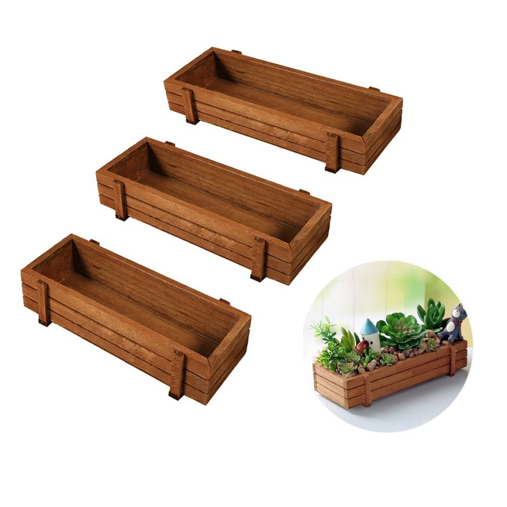 Wooden Plant Seeds Box, 3Pcs Indoor Outdoor Windowsill Kitchen Garden Herb / Flower Planter Trough by Yosoo
