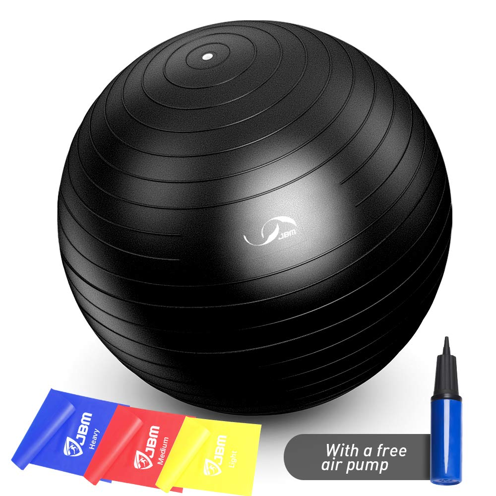 Silver, 55cm JBM Exercise Yoga Ball with Free Air Pump 200 lbs Slip-Resistant Yoga Balance Stability Swiss Ball for Fitness Exercise Training Core Strength