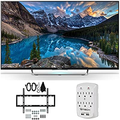 Sony KDL-55W800C 55-Inch 1080p 120Hz 3D Smart LED Android TV Flat Wall Mount Bundle includes 55-Inch 3D Android TV, Slim Flat Wall Mount Kit and Surge Protector with USB Ports