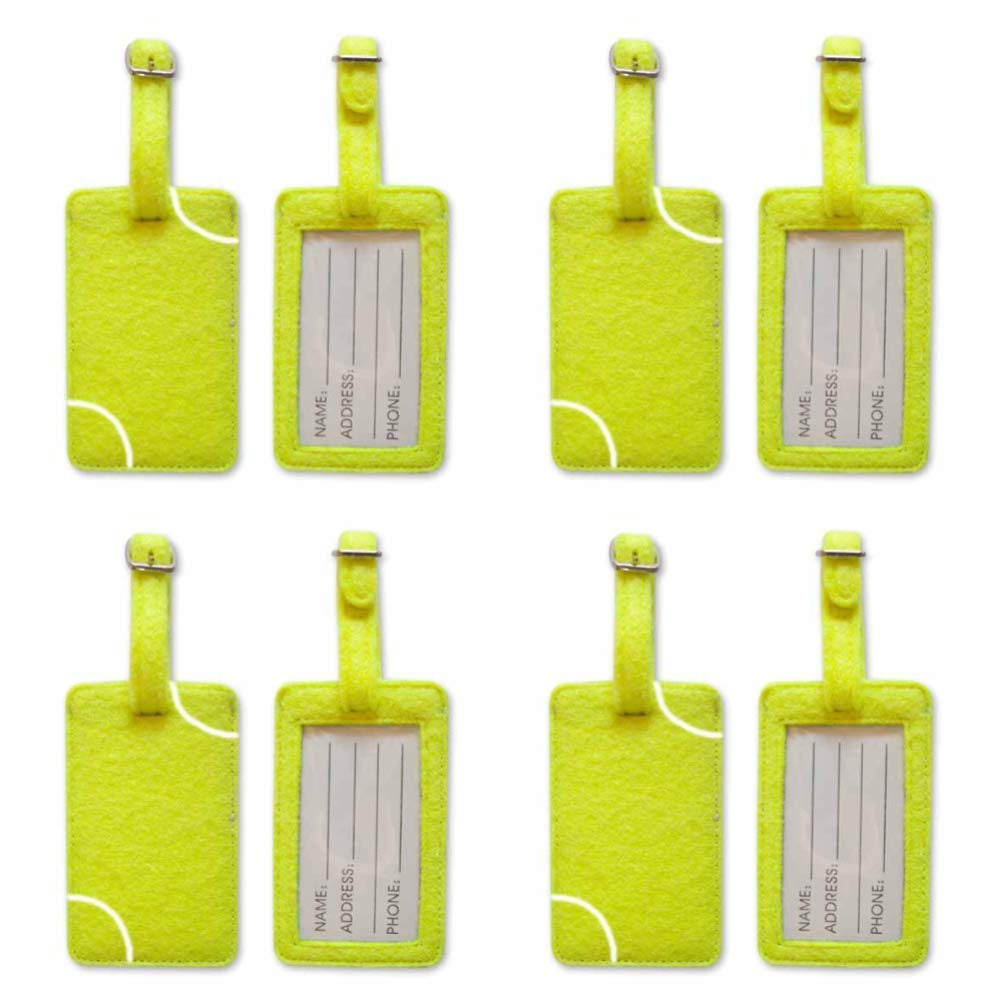 Zumer Sport Tennis Ball Material Luggage Tags (Set of 4) - Made from actual fuzzy ball material - Great for standing out during travel - Unique matching identification for your family - Neon Yellow