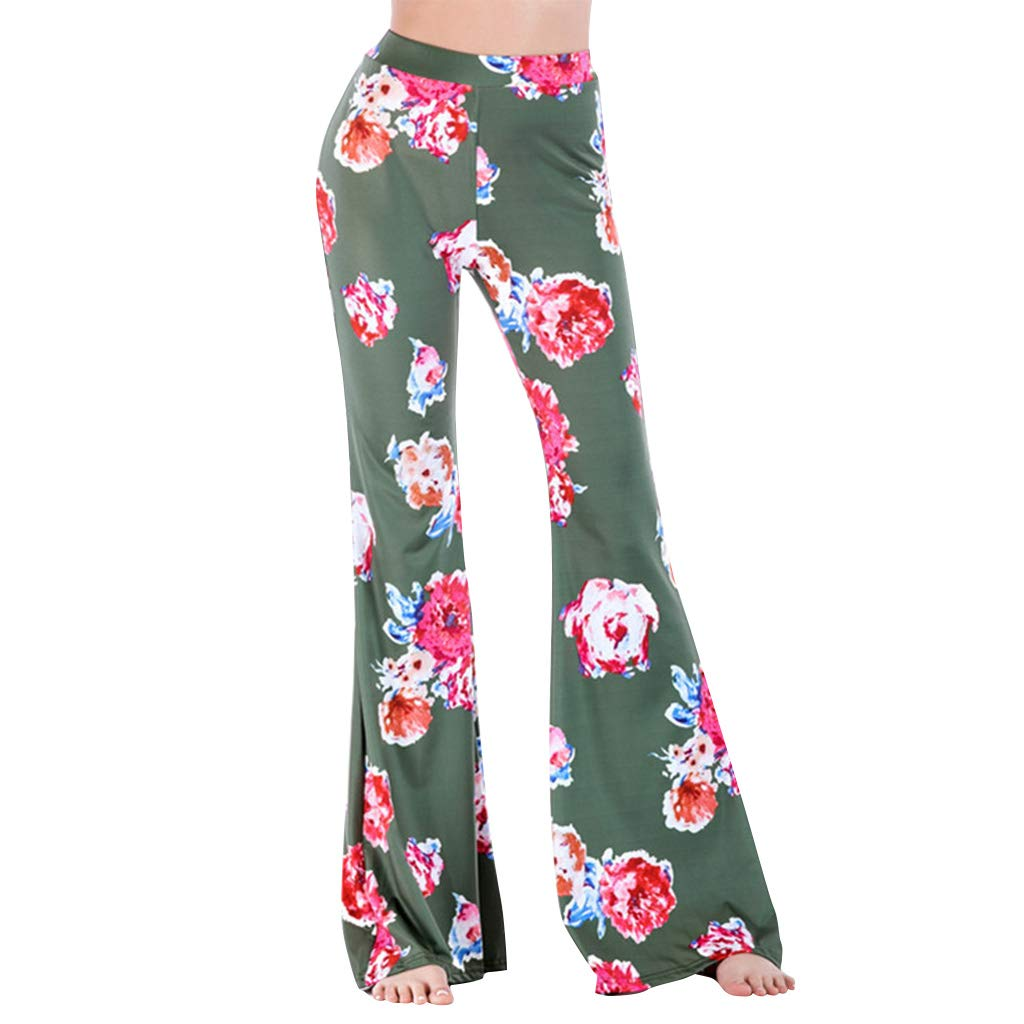 1c408b22ab5 Women High Waist Stretchy Bell Bottom Leggings Retro Floral Flare Palazzo  Pant Trousers