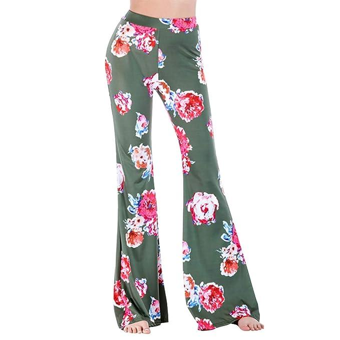 070826f989d85b GUOLEZEEV Women High Waist Floral Print Bell Bottoms Flare Leggings Palazzo  Pants S
