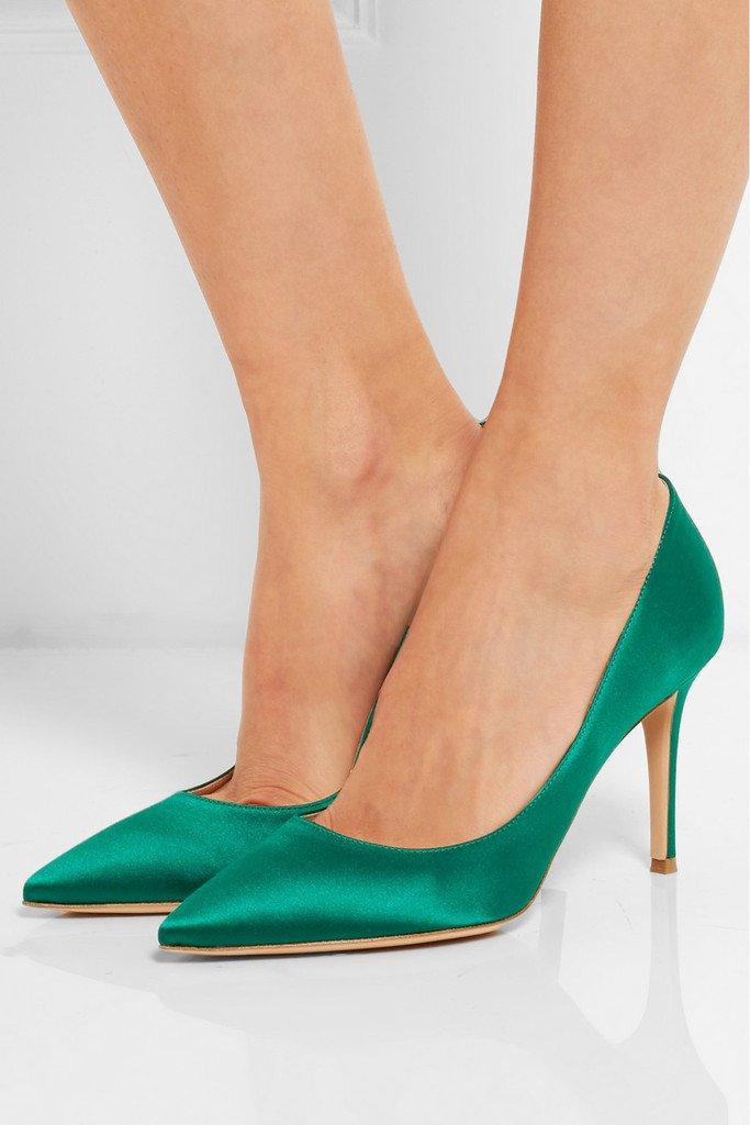 EDEFS Damen High Heels Klassische Übergröße Pumps Geschlossene Spitze Zehen Übergröße Klassische Schuhe 8cm Absatz Satin 203a16