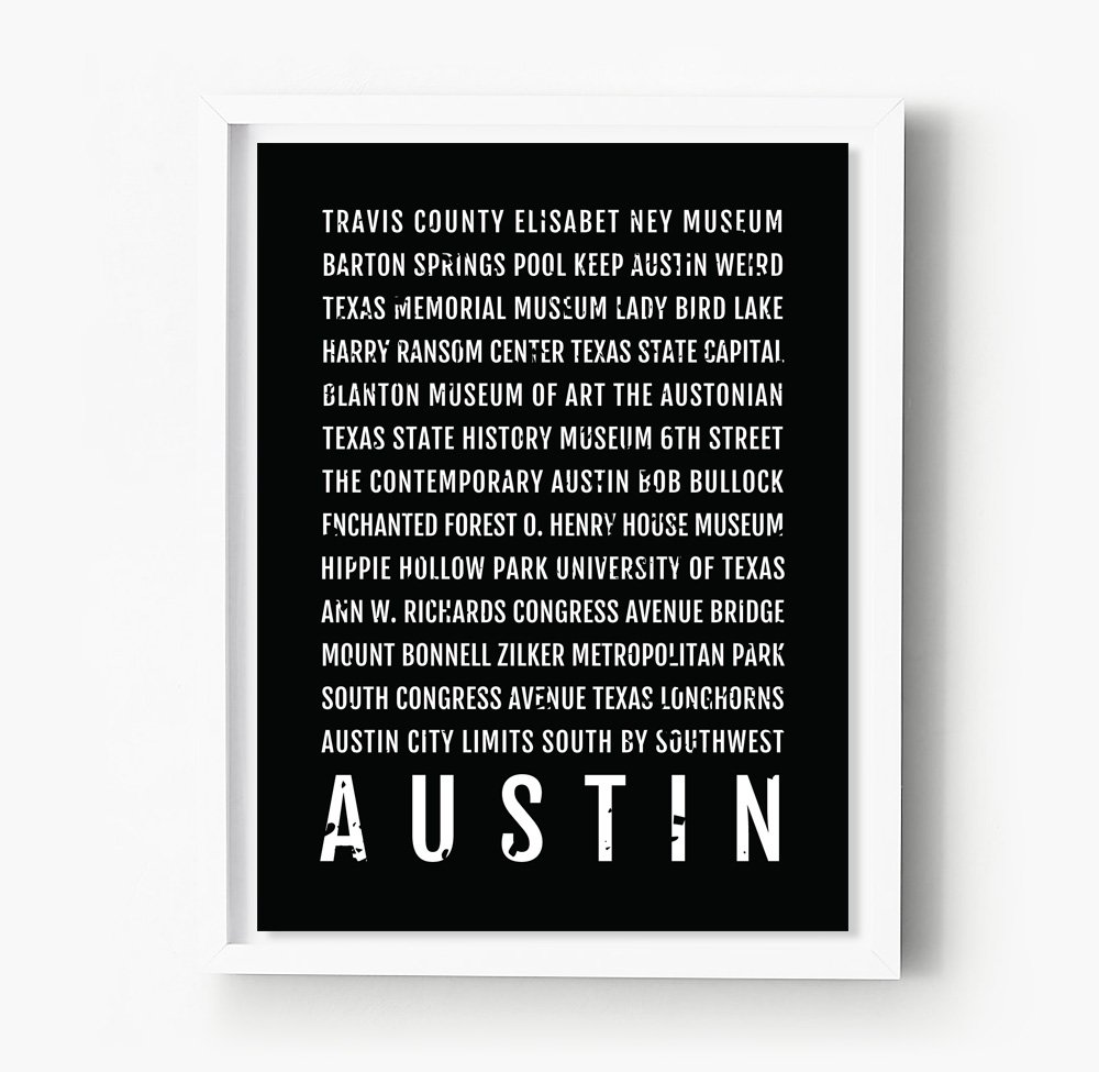 Austin Texas Subway Map.Amazon Com Austin Texas Print Neighborhoods Subway Sign Poster