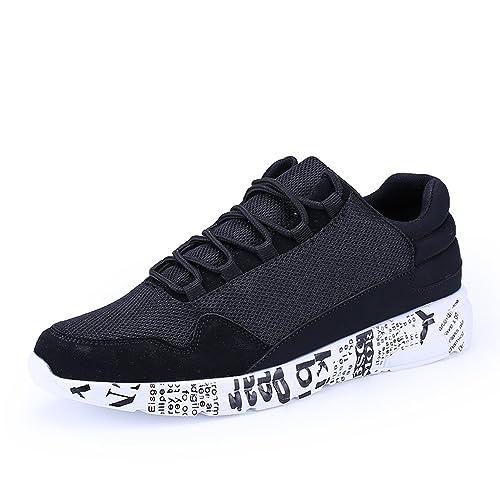wholesale dealer 3318e 66ffa Hombre Zapatillas de Running Deportivos Athletic Plano Casual Graffito  Sneakers Negro Blanco Negro 40  Amazon.es  Zapatos y complementos
