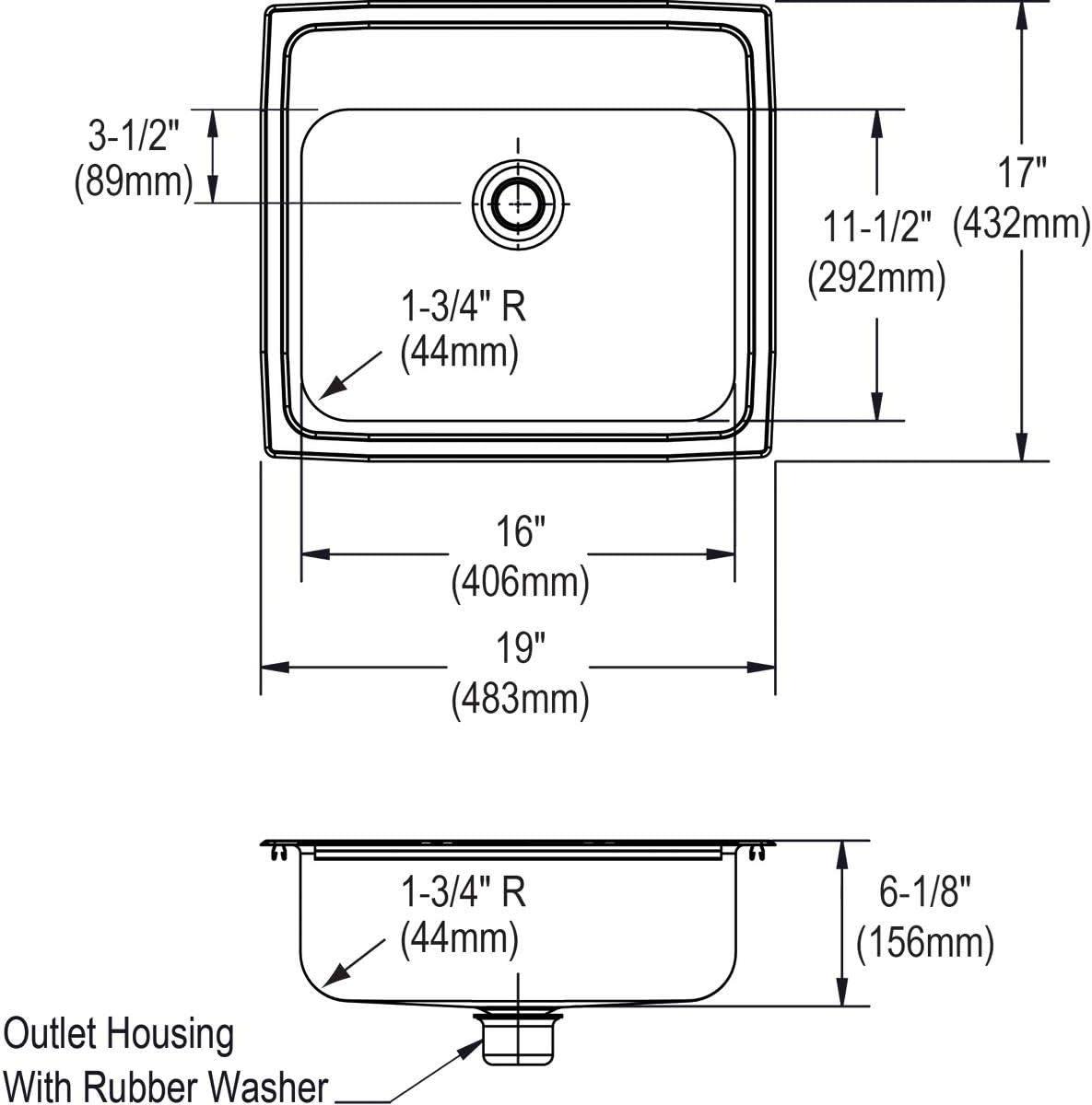 Stainless Steel////Lustrous Satin 19 x 17 x 6.12 Elkay PSLVR1917LO0 Sink