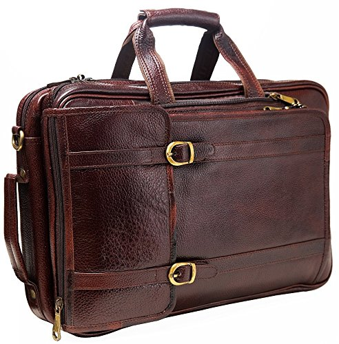 Urban Leather 16 Inch 3-in-1 Full Grain Handmade Dark Tan Bagpack-Handbag-Sling Laptop Ipad Leather Bag by Urban Leather (Image #1)