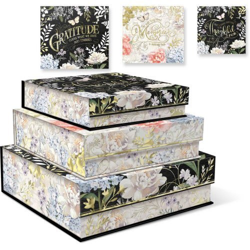 Punch Studio Nesting Square Flap Boxes - Floral Reflections - Set of 3