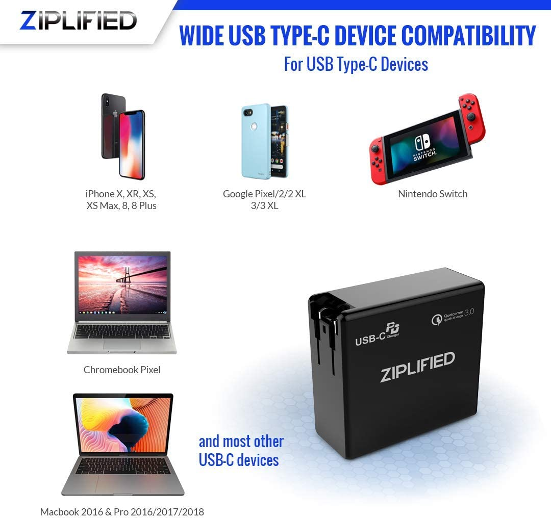 iPhone 11 Ziplified 60W USB C PD 3.0 Wall Charger Compatible with Macbook iPad 2018 and More