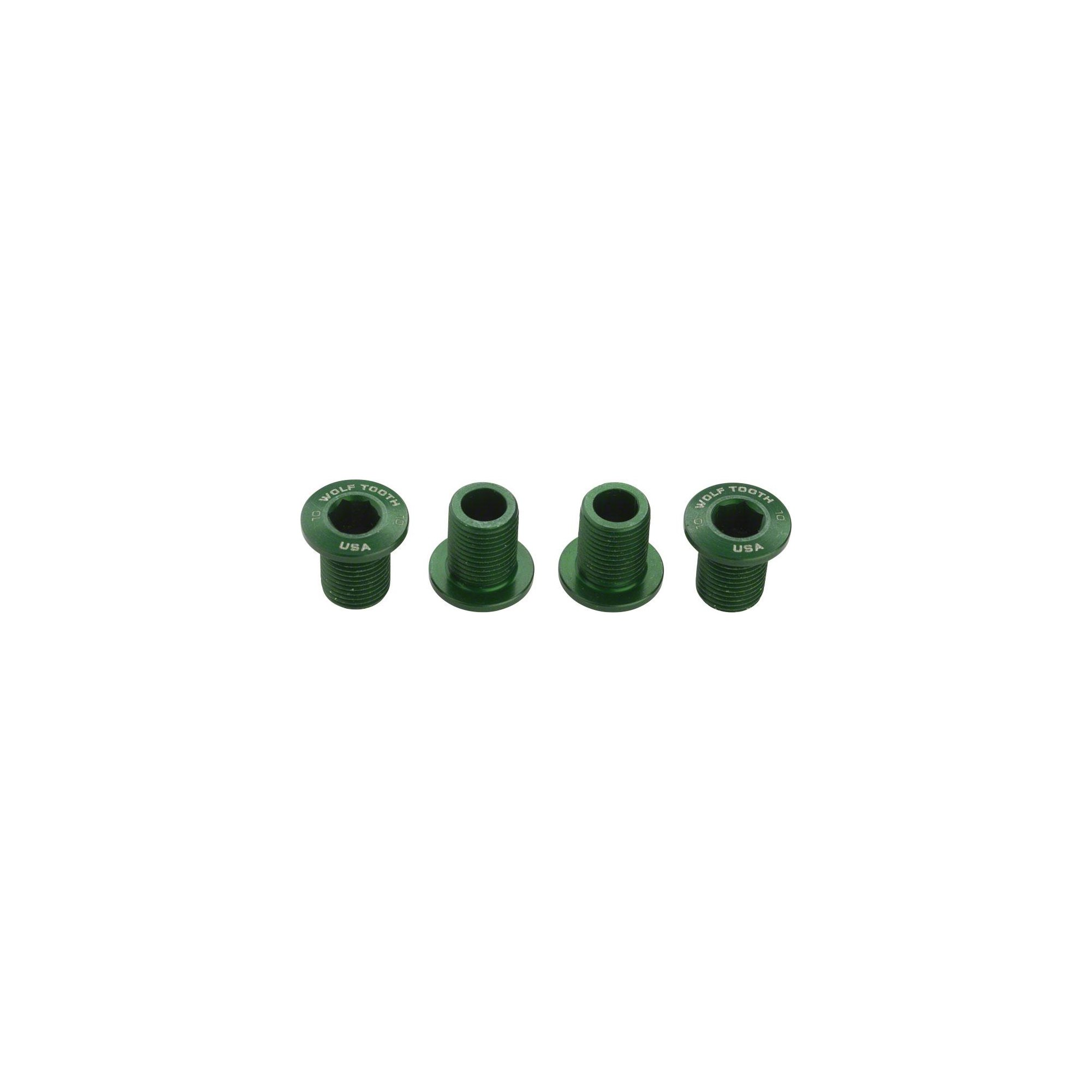 Wolf Tooth Components Set of Chainring Bolts 104 x 30T Rings (10 mm Long) Green by Wolf Tooth Components