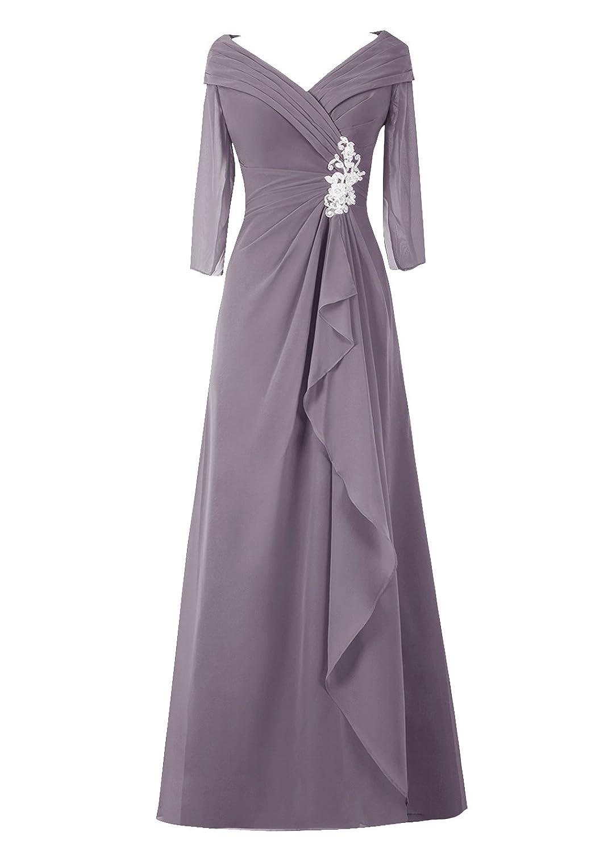 Dresstell レディーズ ロング丈 結婚式ドレス 披露宴ドレス 長袖 アップリケ付き お呼ばれ フォーマルドレス シンプルシフォン ママのタイプ 二次会ドレス B015H1J6KG JP15|グレー グレー JP15