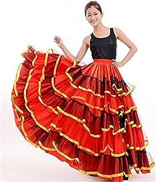 peiwen Mujer tauromaquia española Baila Falda Grande Vestido Rojo Grande   Amazon.es  Deportes y aire libre 20730cc8f74a