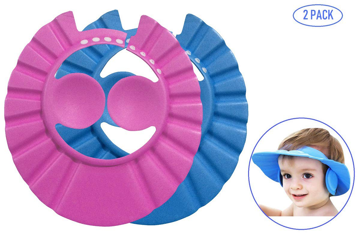 2Pcs Adjustable Kid Hair Wash Hat Shower Shield Guard Baby Ear Protection Cap