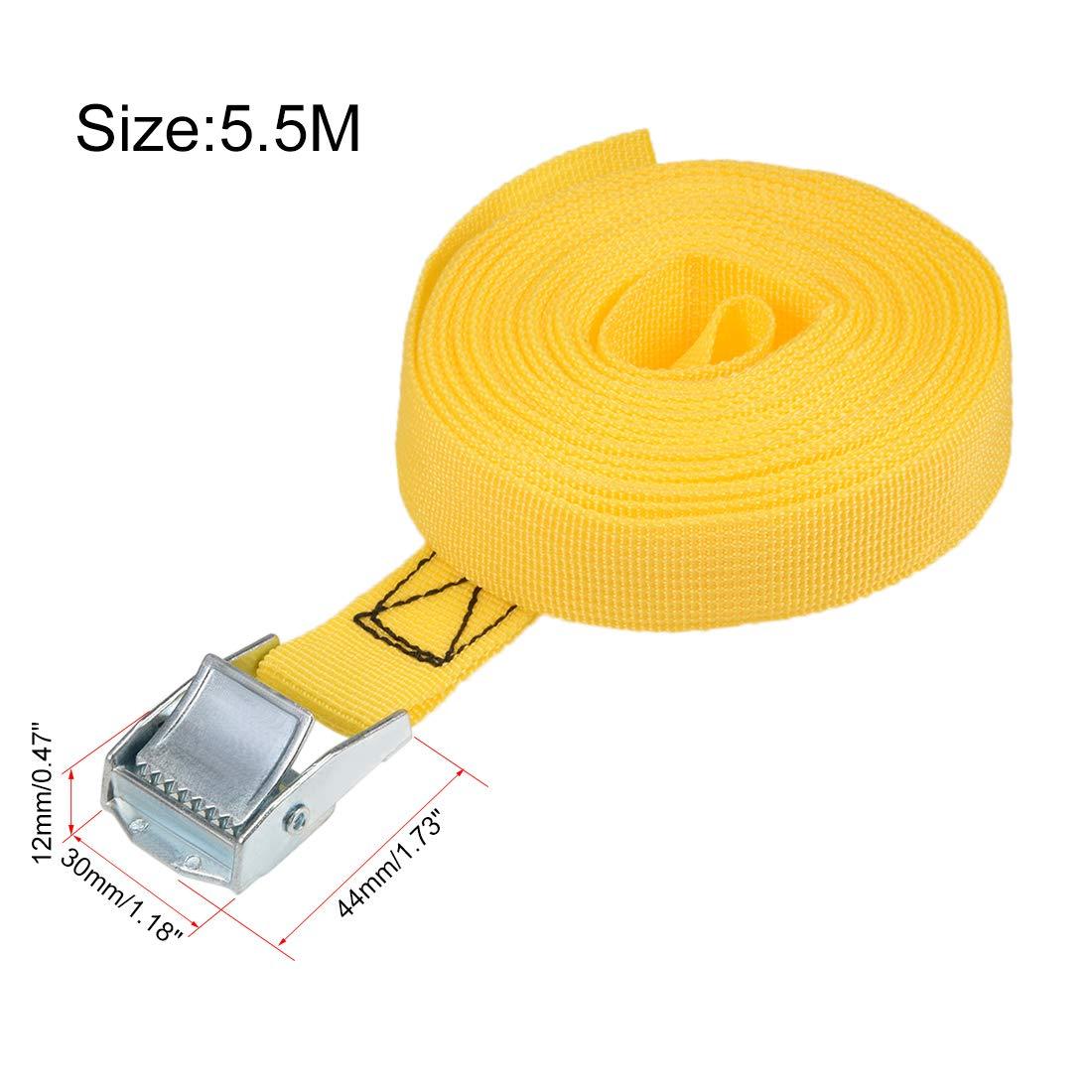 2pcs sourcing map 8mx25mm amarre correa carga amarre w cam hebilla 250 kg carga de trabajo amarillo