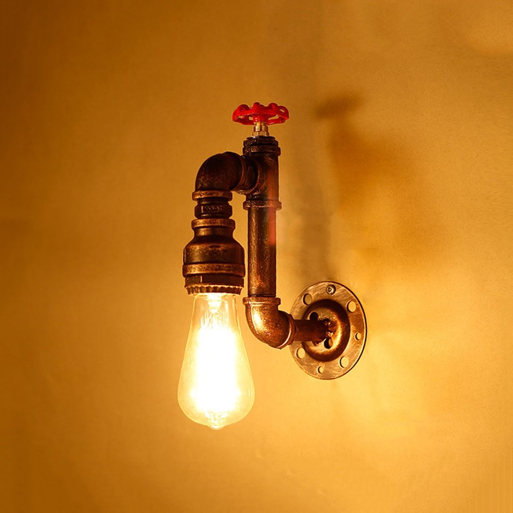 Water pipe wall lamp Decorative lamp Lighting lamps E27 bulb1 Retro industrial style Iron wall lamp Bar Storage Room Basement Garage balcony Height 9.85 Inch (brass color)