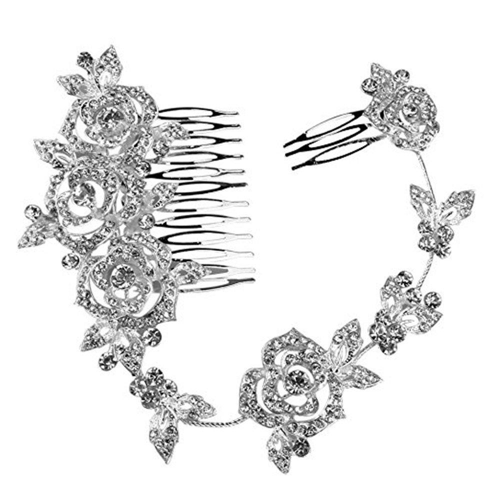 Crystal Bridal Wedding Hair Comb Flower Long Shaped Elegant Headpiece Jewelery Qiqilei