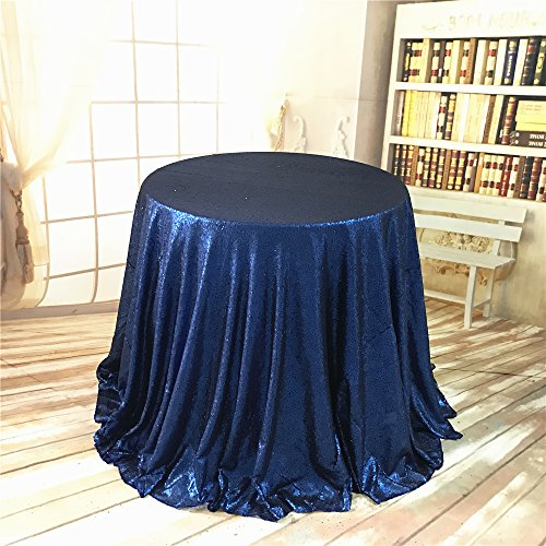 BalsaCircle TRLYC 108-Inch Round Sequin Tablecloth for Wedding Happy New Year-Matt (108 Matt)