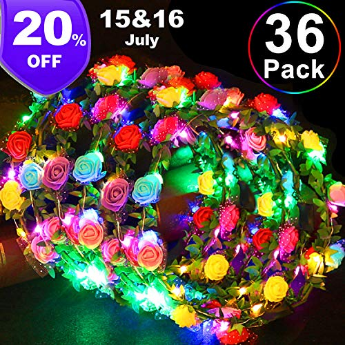 36 Pack Party Favors LED Flower Crowns, Glow in The Dark Party Supplies Adjustable Flower Headband Light Up Toys for Kids Adults Wedding Hawaiian Beach Holiday Birthday Party July 15 & 16 Deals