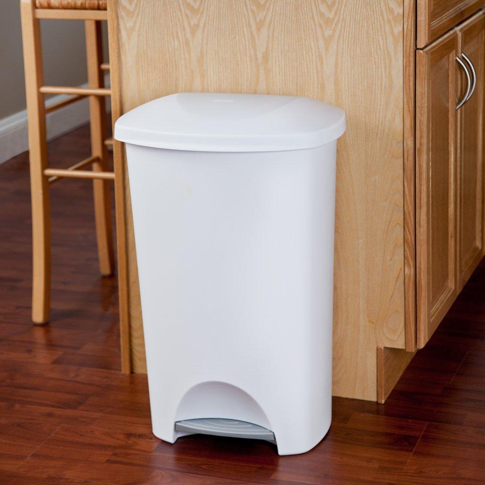 Beau Amazon.com: STERILITE 10968004 11 Gallon/42 Liter StepOn Wastebasket, White  Lid U0026 Base W/Titanium Pedal, 4 Pack: Home U0026 Kitchen