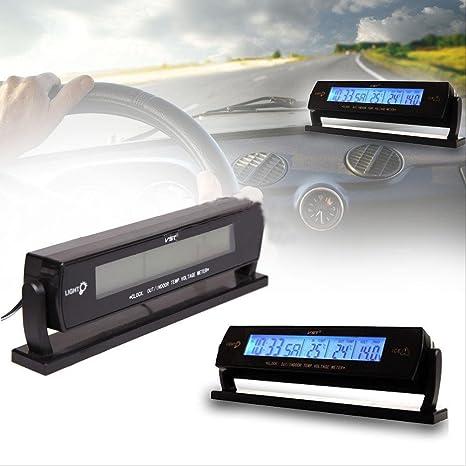 Yeshi Reloj despertador digital con medidor de temperatura del coche (LCD, voltímetro)