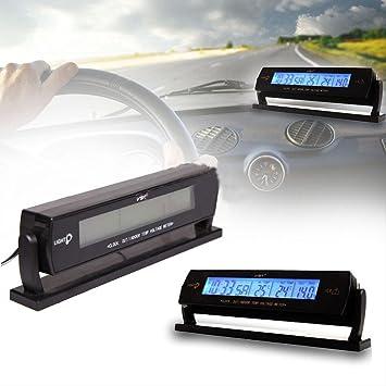Amazon.es: Yeshi Reloj despertador digital con medidor de temperatura del coche (LCD, voltímetro)