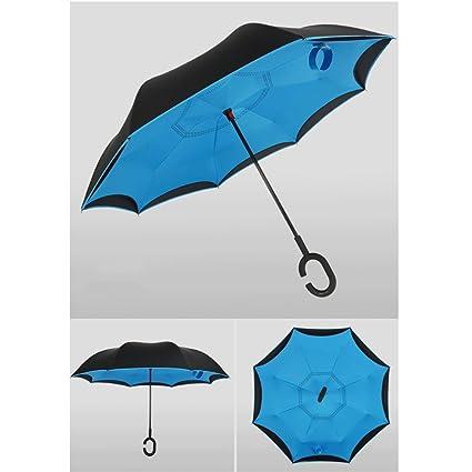 Paraguas Invertir manija Larga Doble automático Manos Libres Puede soportar Mujeres sombrillas QIQIDEDIAN (Color :