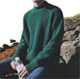 LOKOUO men sweater Thick Warm Turtleneck Knitting Sweater Men Pullover Men Plus Size Christmas MVT6 GreenX-Large